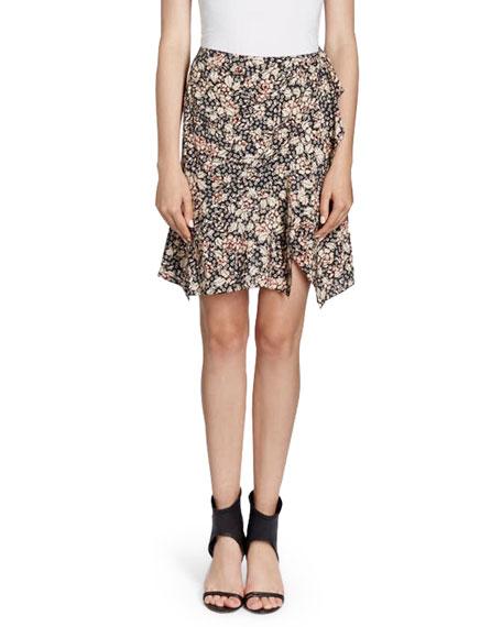 Becka Ruffle-Trim Floral Wrap Skirt