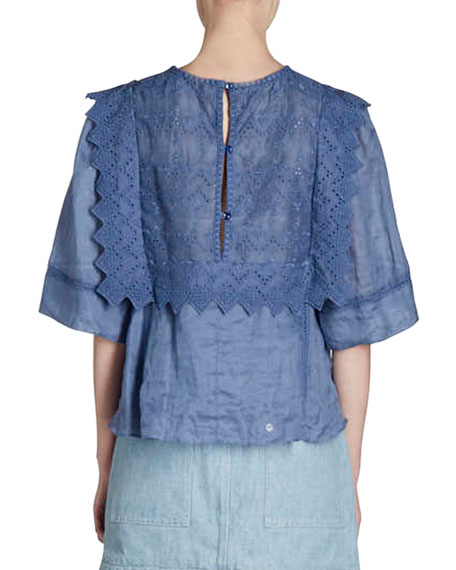 Nesto Embroidered Eyelet Half-Sleeve Top