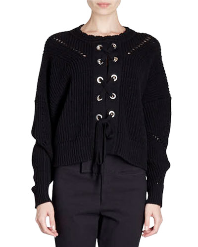 Grommet-Studded Lace-Up Sweater