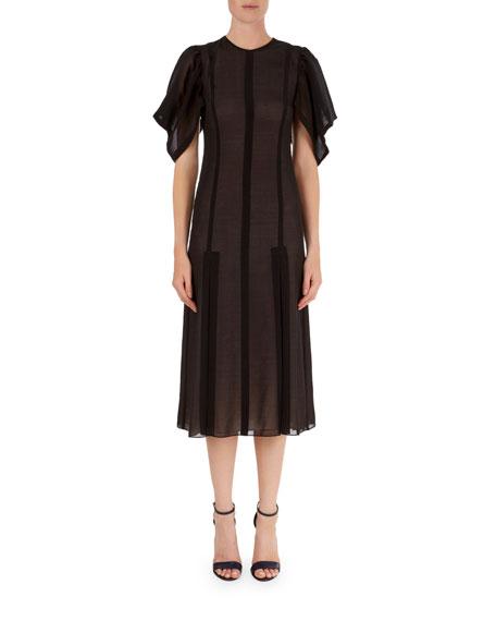 Draped Puff-Sleeve Chiffon Midi Dress