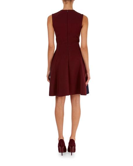 Sleeveless Pleated Bicolor Dress