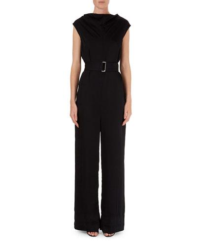 Belted V-Back Crepe Jumpsuit