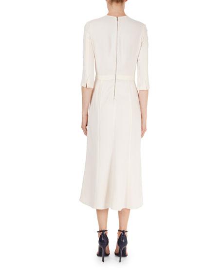 Elbow-Sleeve Cady Midi Dress