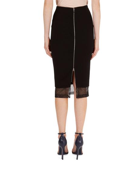 Lace-Hem Crepe Pencil Skirt