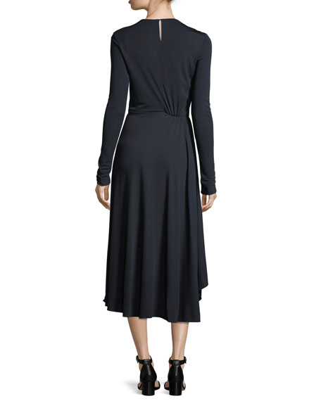 Long-Sleeve Shirred Midi Dress