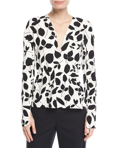 Leaf-Print Long-Sleeve Silk Blouse