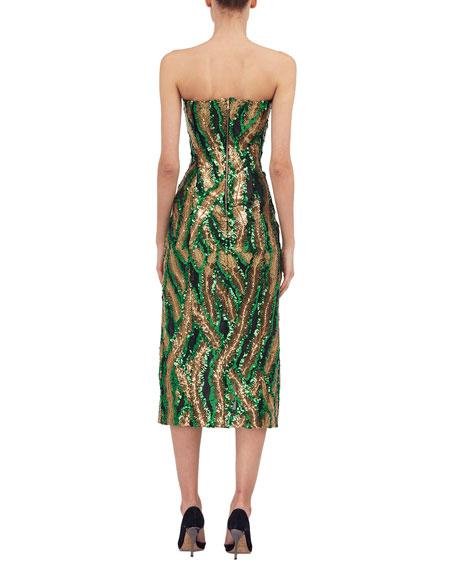 Strapless Sequined Side-Slit Midi Dress