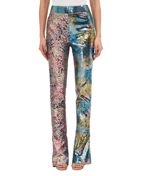 Sequined Mixed-Pattern Straight-Leg Pants