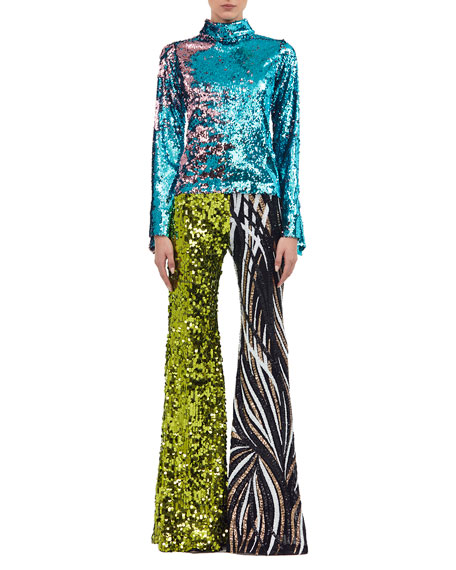 Two-Tone Flared-Leg Sequined Pants