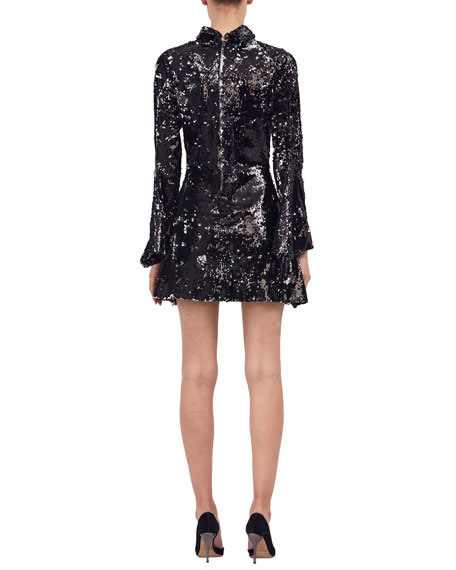Metallic Sequined Turtleneck Dress