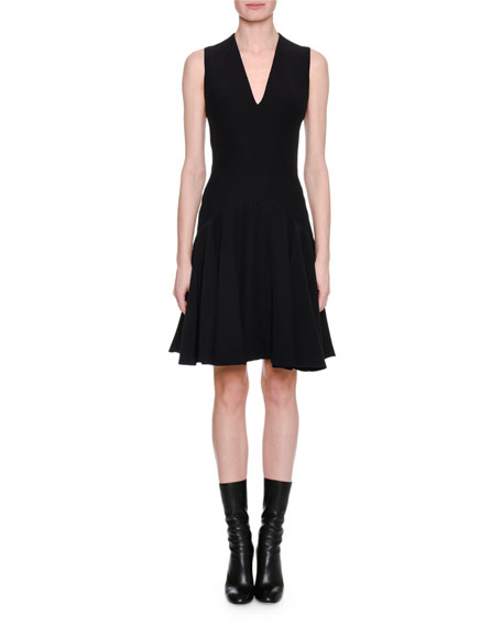 Sleeveless V-Neck Flare-Hem Dress