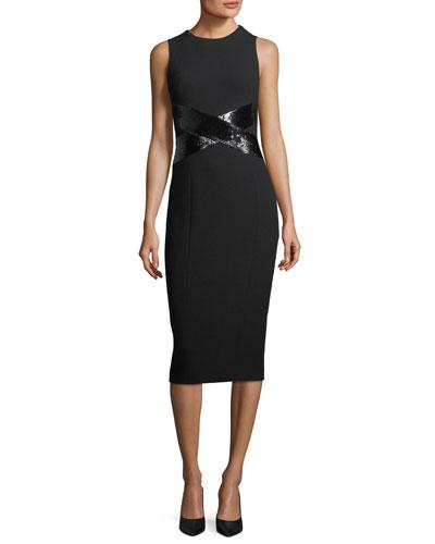 X-Paillette Sleeveless Sheath Stretch-Boucle Dress