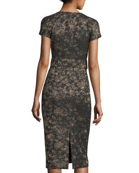 Metallic Jacquard Sheath Dress with Belt