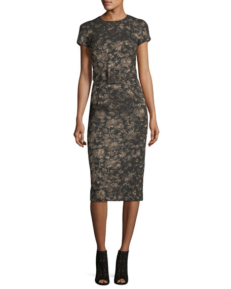 Metallic Jacquard Sheath Dress with Belt