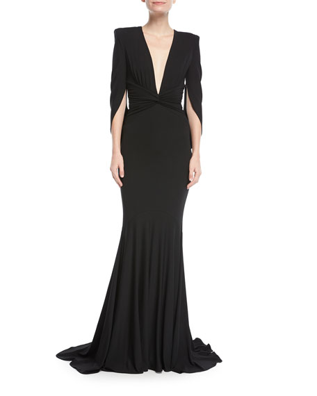 Plunging Draped Fishtail Evening Gown