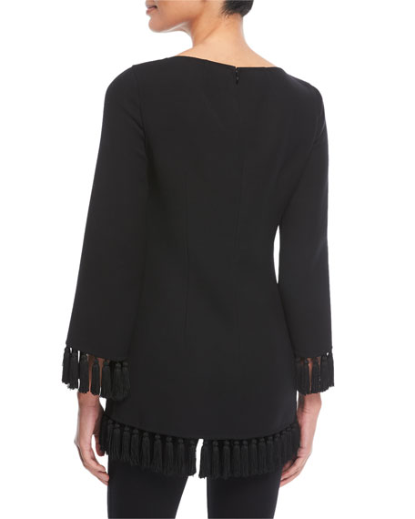Tassel-Trim Wool Crepe Tunic Top