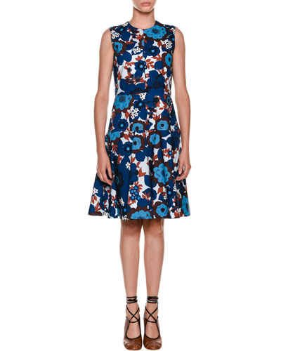 Sleeveless A-Line Floral-Print Poplin Dress