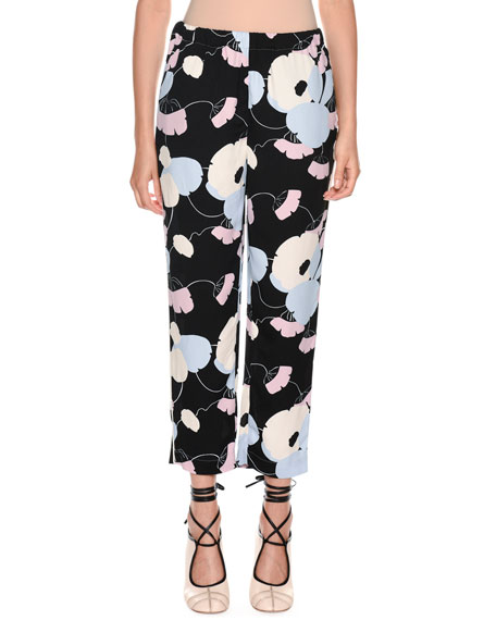 Floral-Print Straight-Leg Pajama Silk Pant