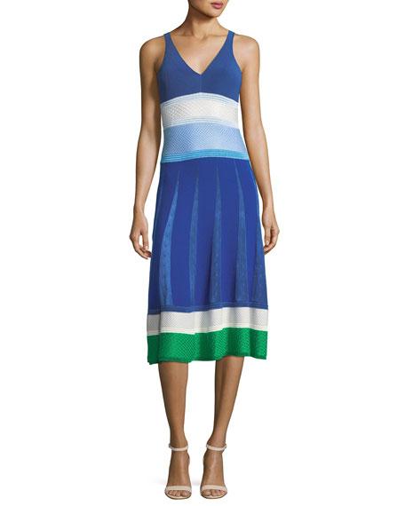 V-Neck Sleeveless Mixed-Knit Midi Dress
