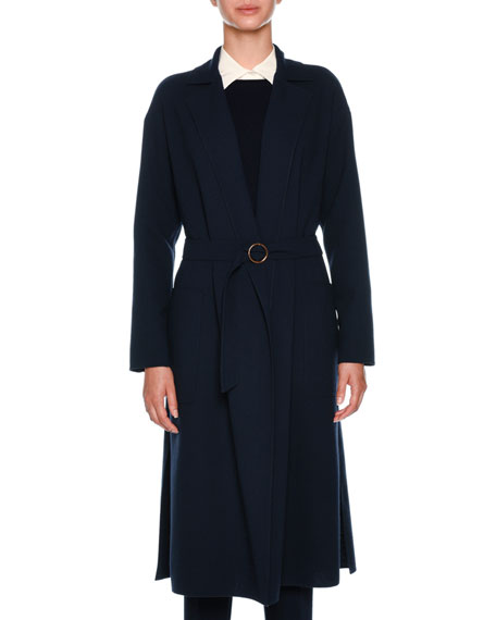 Notch-Collar Belted Wool Duster Jacket