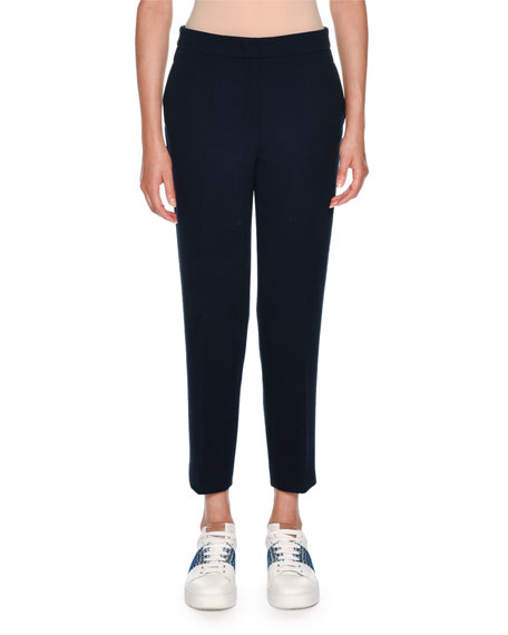 Straight-Leg Cropped Wool Trousers