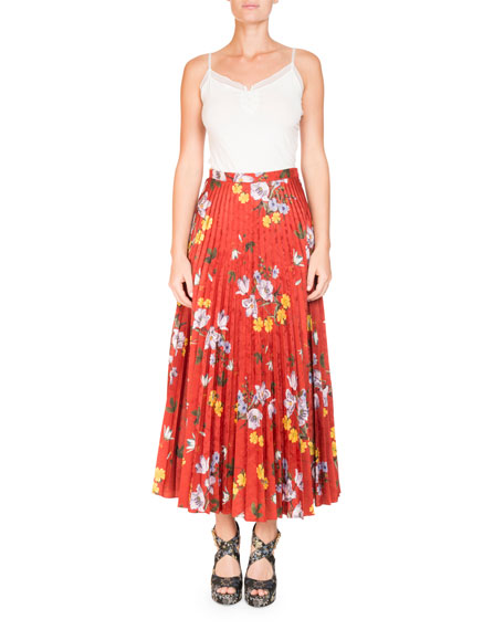 Nesrine Pleated Floral-Print Skirt