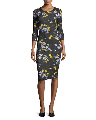 Allegra 3/4-Sleeve Floral Dress