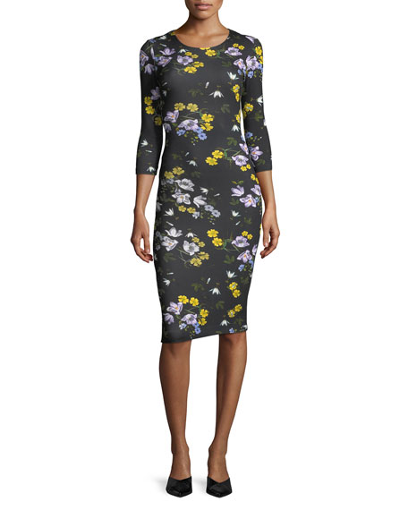 Allegra 3/4-Sleeve Floral Dress