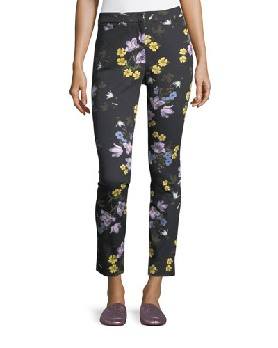 Sidney Floral-Print Ankle Pants