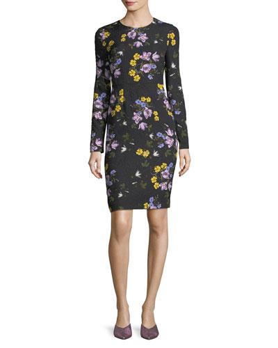 Evita Long-Sleeve Floral Dress