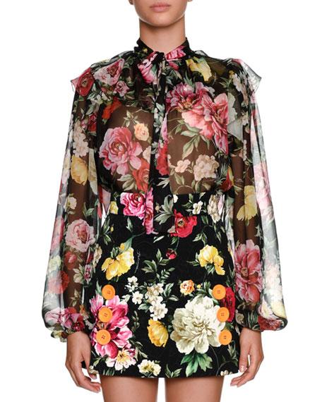 a9d5950dc9cc95 Dolce   Gabbana Bow-Tie Long-Sleeve Floral-Print Silk Chiffon Blouse