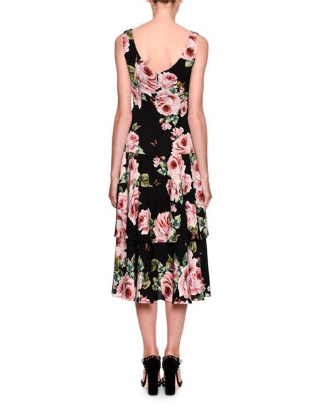 Sleeveless Tiered Rose-Print Dress