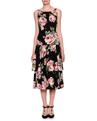 Sleeveless Tiered Rose-Print Dress