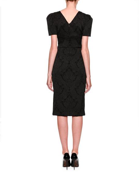 Short-Sleeve Jacquard Pencil Dress