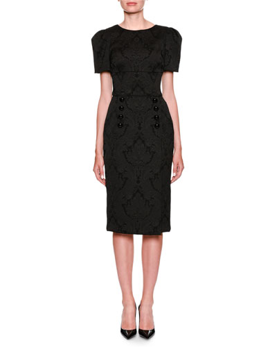 Short-Sleeve Jacquard Pencil Dress