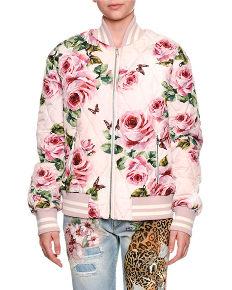 Quilted Rose-Print Bomber Jacket
