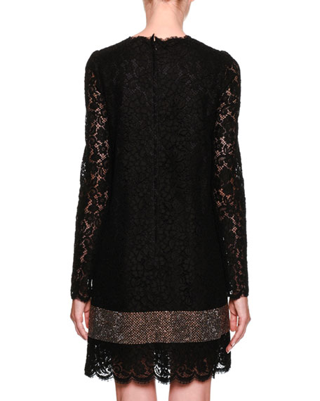 Long-Sleeve Lace A-Line Dress