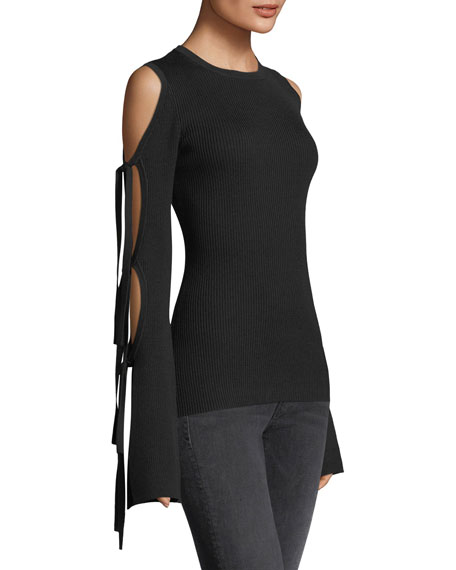Ribbed Knit Cold-Shoulder Tie-Sleeve Top