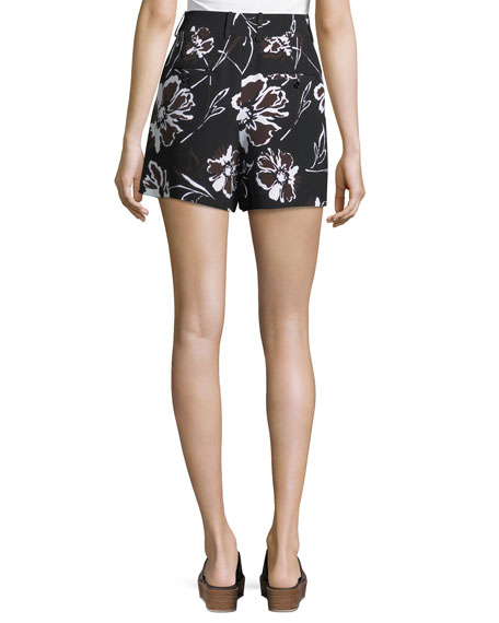 Floral-Print Cady Shorts