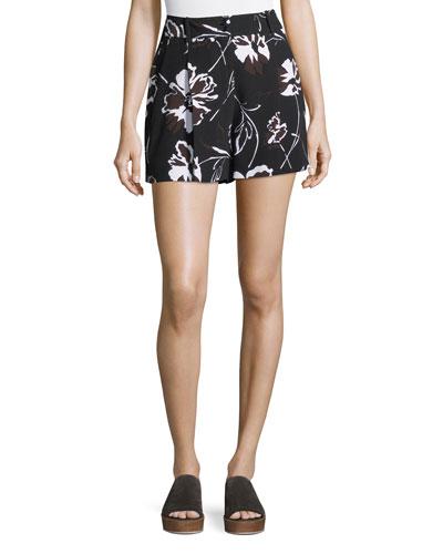Floral-Print Cady Shorts