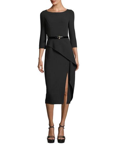 3/4-Sleeve Asymmetric Peplum Dress