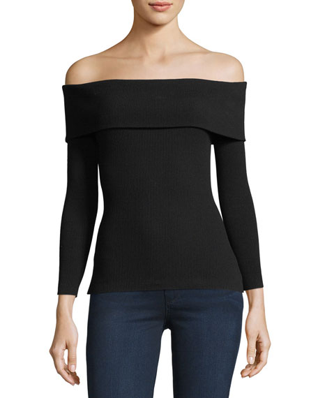 Folded Off-Shoulder Ribbed Sweater