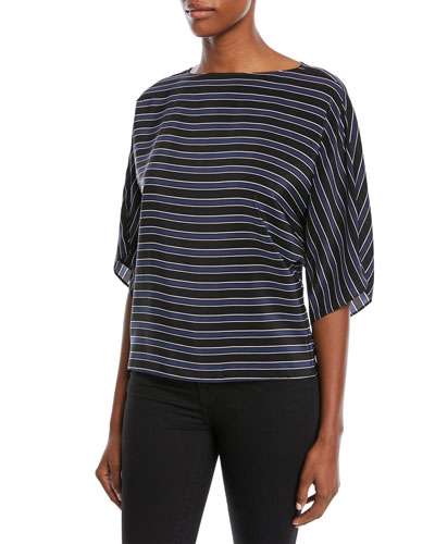 Pajama-Striped Tunic Top