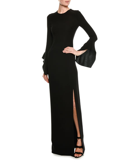 Split-Sleeve Column Gown