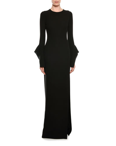 Split-Sleeve Column Gown