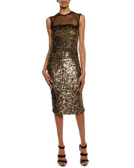Sleeveless Sequined Illusion Cocktail Dress