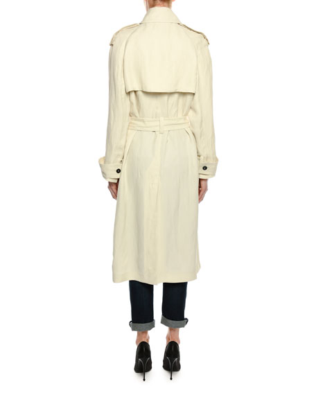 Double-Breasted Linen-Blend Trenchcoat