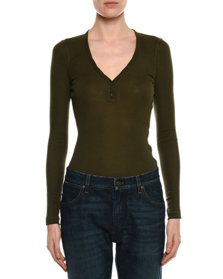 Long-Sleeve V-Neck Silk Top