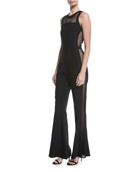 Sleeveless Net-Trim Jumpsuit, Black