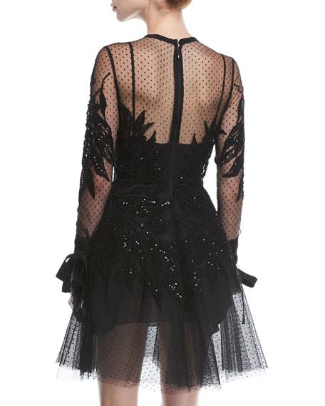 Beaded Swiss Dot Cocktail Dress